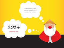 Chinese santa claus on New Year's greeting card. Chinese santa claus on 2014 greeting card vector illustration