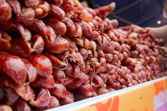 Chinese sausage. On the market Stock Photos