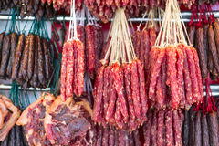 Chinese Sausage. Variety of cured traditional Chinese sausage stock images