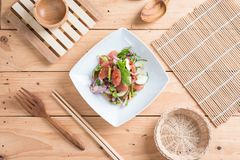 Chinese sausage salad with lime, cucumber and shallot Stock Photos