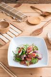 Chinese sausage salad with lime, cucumber and shallot Stock Images
