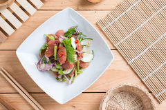 Chinese sausage salad with lime, cucumber and shallot Royalty Free Stock Images