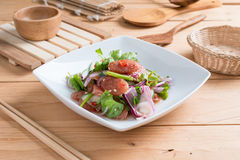 Chinese sausage salad with lime, cucumber and shallot Royalty Free Stock Image