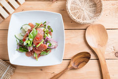 Chinese sausage salad with lime, cucumber and shallot Stock Image