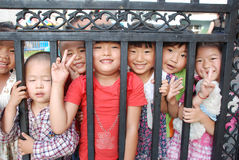 Chinese school children. Smiling young Chinese children in the school, in Sichuan,China stock photography