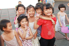 Chinese school children. Smiling young Chinese children in the school, in Sichuan,China stock photos