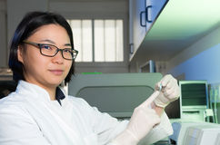 Chinese scientist with PCR tube Stock Photos