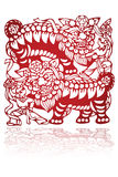 Chinese scissor-cut lion dance Royalty Free Stock Images