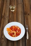 Chinese scrambled eggs with tomatoes and rice wine Stock Photo