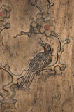 Chinese screen. Detail from a Chinese screen from the Ming dynasty, probably from the late 15th century. Beautiful wood carving. It represents winter, with a Royalty Free Stock Images