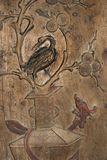 Chinese screen. Detail from a Chinese screen from the Ming dynasty, probably from the late 15th century. Beautiful wood carving. It represents spring. The screen Royalty Free Stock Image