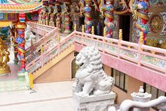 Chinese sculpture Made of stone decorated inside the shrine area. royalty free stock photos