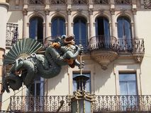Chinese Sea Dragon on Building, La Rambla, Barcelona Royalty Free Stock Photography