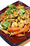 Chinese Seafood Fried Noodle in A Plate. stock photo
