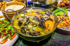 Chinese Seafood Pot stock photography