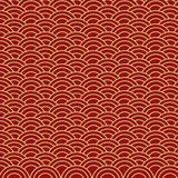 Chinese seamless gold wave on red background. Suitable for gift paper royalty free illustration