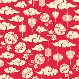 Chinese Seamless Pattern with Clouds. Peony Flowers and Asian Lanterns. Vector illustration Stock Image