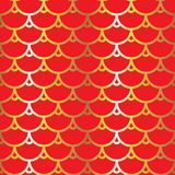 Chinese seamless pattern. Fabrics texture. Red and gold print. Vector illustration