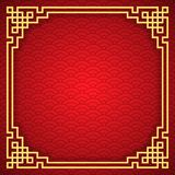 Chinese seamless pattern with frame and shadow. Red and golden chinese clouds traditional ornament background. Vector illustration.  stock illustration