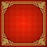 Chinese seamless pattern with frame and shadow. Red and golden chinese traditional ornament background. Vector illustration.  royalty free illustration