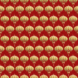 Chinese seamless pattern red lantern lamp gold Stock Photo
