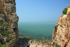 Chinese Seaside cliff Stock Photo