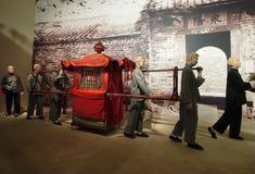 Chinese sedan chair. Models of Chinese sedan chair in Hong Kong Heritage Museum stock image