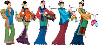 Chinese sellers. Beautiful Chinese sellers with goods over white background. Vector illustration Stock Image