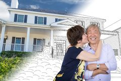 Chinese Senior Adult Couple Kiss In Front Of Custom House Stock Image