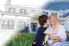 Chinese Senior Adult Couple Kissing In Front Of Custom House. Drawing and Photo Transition stock images