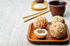 Chinese sesame balls with sweet red bean paste Stock Photography