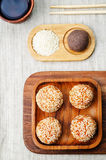 Chinese sesame balls with sweet red bean paste. On a light background. toning. selective focus Royalty Free Stock Photos