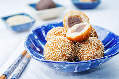 Chinese sesame balls with sweet red bean paste Stock Image