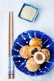 Chinese sesame balls with sweet red bean paste. On a white background. toning. selective focus Stock Photography