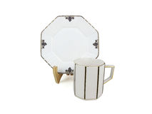 Chinese set of tea cups on white background Stock Photo