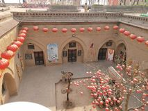 Chinese shaanxi courtyard built in the underground house number three. royalty free stock image