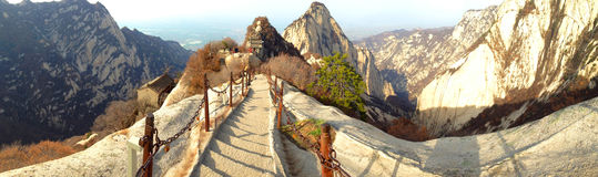 Chinese Shaanxi province tourist attractions in Huashan mountain. Royalty Free Stock Photography
