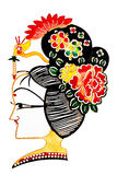 Chinese shadow play women headdress. Studio shoot  shadow play women headdress on white background Stock Photography