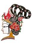 Chinese shadow play women headdress. Studio shoot  shadow play women headdress on white background Stock Images