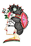 Chinese shadow play women headdress. Studio shoot  shadow play women headdress on white background Royalty Free Stock Images