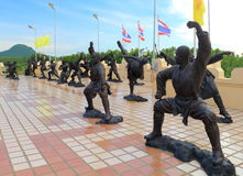 Chinese Shaolin fighters statues in Chinese temple Royalty Free Stock Photography