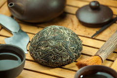 Chinese shen puer tea. Shen puer chinese tea tuo cha on chaban tea table whis tea acessories in Traditional chinese tea ceremony Stock Photos