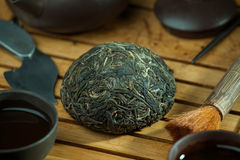 Chinese shen puer tea. Shen puer chinese tea tuo cha on chaban tea table whis tea acessories in Traditional chinese tea ceremony Stock Image