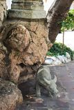 Chinese Ship Ballast stone buffalo statue in the tourist attractionat at Wat Pho Stock Image