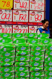 Chinese Shopkeeper & Display of Boxes, Kaifeng Royalty Free Stock Image
