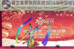 Chinese New Year 2019. Chinese show and stage performance by Art group from Henan Province China in the city hall premise celebrating the Chinese new year 2019 stock image