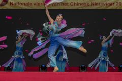 Chinese New Year 2019. Chinese show and stage performance by Art group from Henan Province China in the city hall premise celebrating the Chinese new year 2019 stock photo