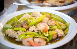 Chinese shrimp fried with vegetable. Close up chinese shrimp fried with vegetable in chinese food set, set of foods in wedding ceremony stock image