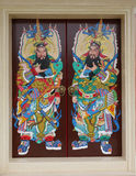Chinese shrine angel doors protector Stock Photo
