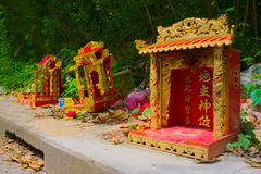 Chinese shrine. Chinese shrine is lined on the roadside Royalty Free Stock Photo
